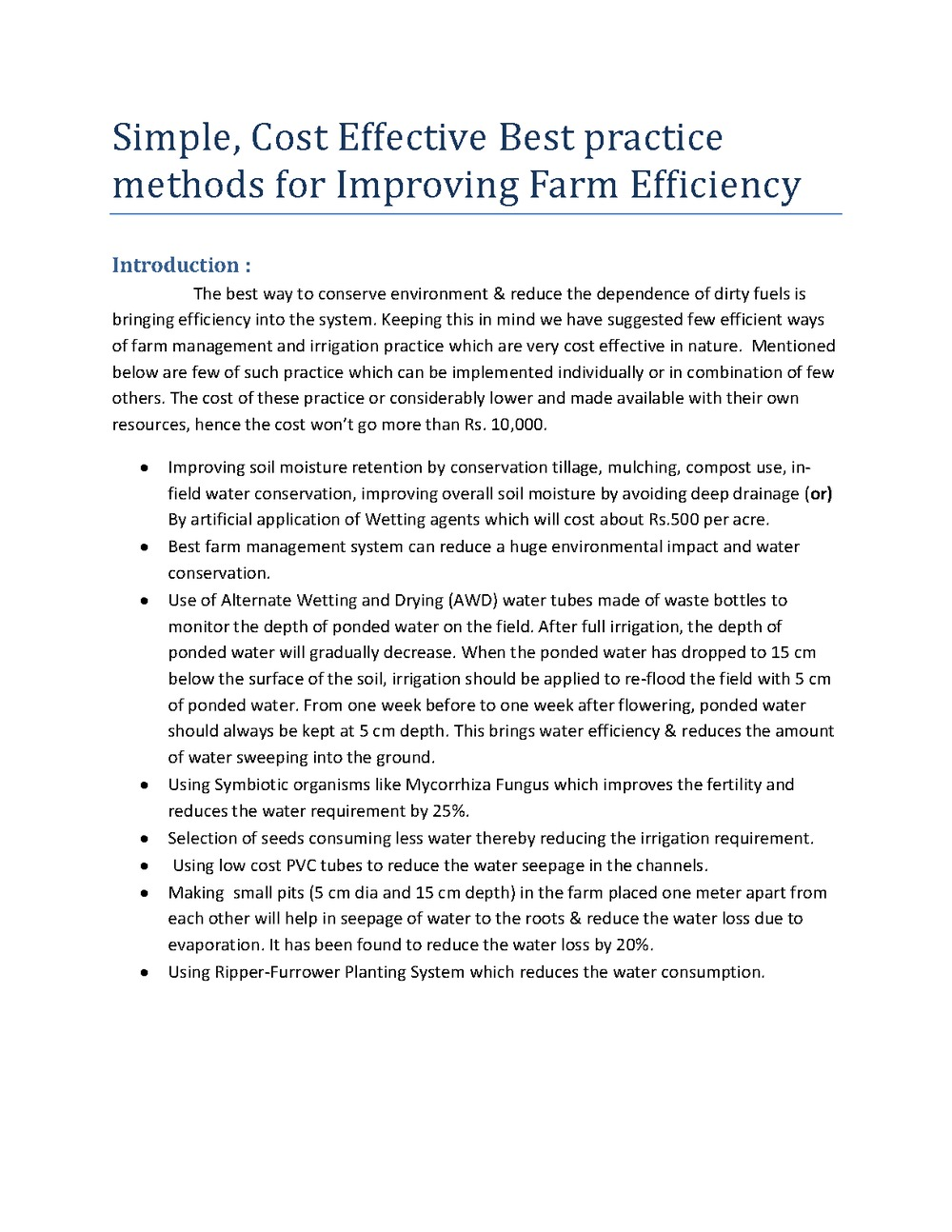 Simple cost effective best practice methods for reducing water consumption bigger