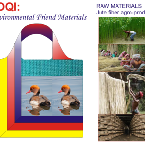 LOQI: Natural Jute fiber Bag- Image with Red-crested Pochard.