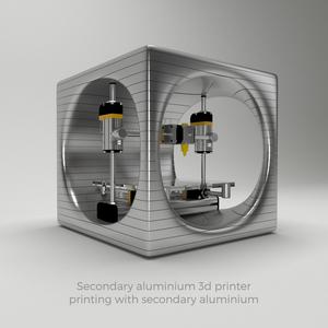 Secondary aluminium 3D printer printing in secondary aluminium