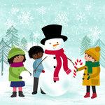 Snowman snow scene